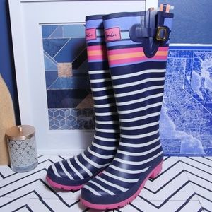 Joules Wellyprint Rain Tall Boots Size 9 Excellent